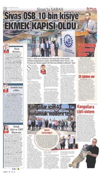 Sabah Gazetesi Sivas I.OSB'nin faaliyetlerine geniş yer verdi.